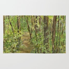 Wooded Path Watercolor Landscape Detailed Realism Rug