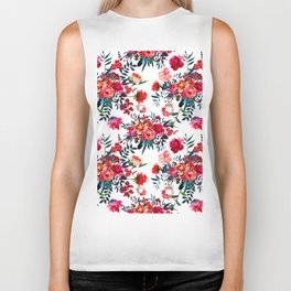 Bohemian pink green hand painted floral feathers pattern Biker Tank