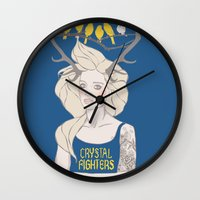 foo fighters Wall Clocks featuring Crystal Fighters by Anna Diricheva