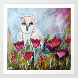 Owl in Poppies Art Print