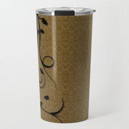 Swirly Black and Gold Damask Pattern Travel Mug