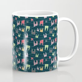 Colorful bunnies on navy background Coffee Mug