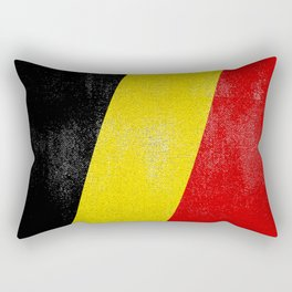 Belgian Distressed Halftone Denim Flag Rectangular Pillow