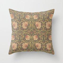 William Morris Vintage Pimpernel Bullrush Russet Throw Pillow