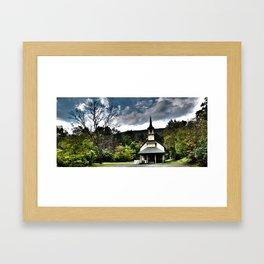 church and tree Framed Art Print