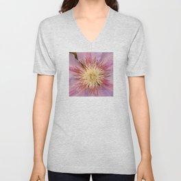 Sugar-Pink Flower Design Unisex V-Neck