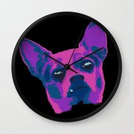 chihuahua - blk Wall Clock