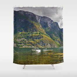 Clear water of fjords Shower Curtain