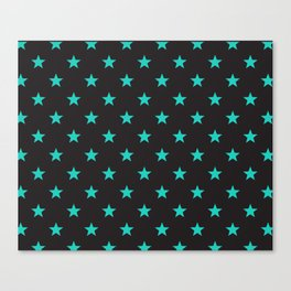 Stary Stars - Tiffany blue on black background Canvas Print