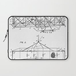 Wright Brother's Airplane Patent - Aviation History Art - Black And White Laptop Sleeve