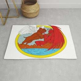 American Bully Dog Fighting Satan Drawing Rug