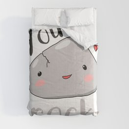 kawaii rock you rock love pun meme  Comforters