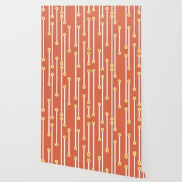 Dotted Lines in Coral, White and Mustard Wallpaper