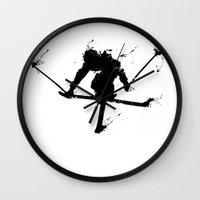 ski Wall Clocks featuring Ski jumper  by Richard Eijkenbroek