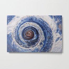 Blue spiral sea snail Metal Print