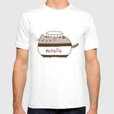 Nutella Cat Mens Fitted Tee LARGE White