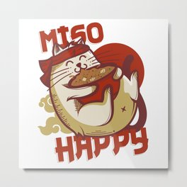 Miso Happy Cat Lover Gift Metal Print
