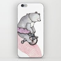 cycling iPhone & iPod Skins featuring Cycling Bear by Brooke Weeber