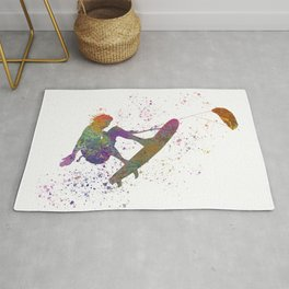 Young man practicing Kite Surf in watercolor Rug