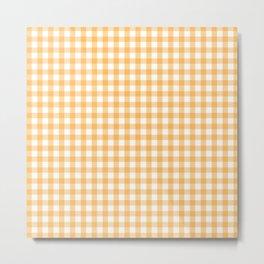 Orange Yellow Checkered Pattern Metal Print