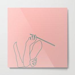 Minimal line drawing Audrey Hepburn smoking pink - breakfast at Tiffani Metal Print