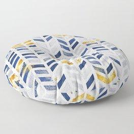 Herringbone chevron pattern.Indigo faux gold acrylic canvas Floor Pillow