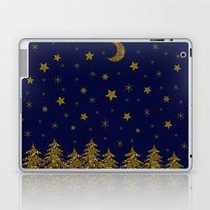 Sparkly Christmas tree, moon, stars Laptop & iPad Skin