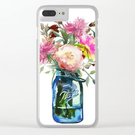 Pink Peonies in Mason Jar Clear iPhone Case