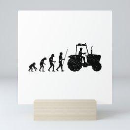 Farmer Evolution Tractor Retro Look Mini Art Print