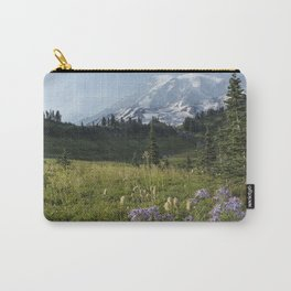 Wildflowers and Mount Rainier Carry-All Pouch