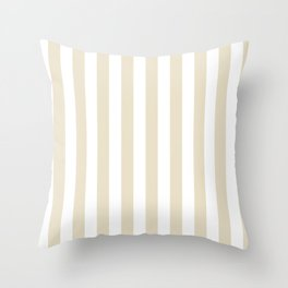 Narrow Vertical Stripes - White and Pearl Brown Throw Pillow
