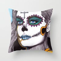 dia de los muertos Throw Pillows featuring Dia de los Muertos by Joseph Walrave
