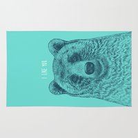 i like you Area & Throw Rugs featuring I Like You (Bear) by Rachel Caldwell