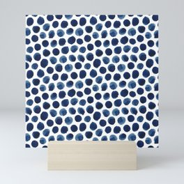 Large Indigo/Blue Watercolor Polka Dot Pattern Mini Art Print