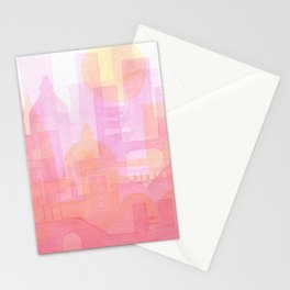 Pink and golden city watercolor Stationery Cards