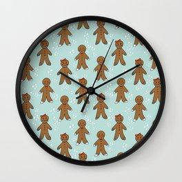 Gingerbread man cute cookies pattern gifts seasonal winter baking tradition mint Wall Clock