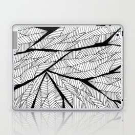 Black and White Modern Abstract Geometric Leaves Laptop & iPad Skin