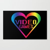 video games Canvas Prints featuring love video games by seb mcnulty