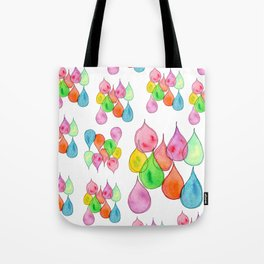 """""""Crystals"""" Watercolor Painting positive illustration colorful nursery kids room rain drops pattern Tote Bag"""