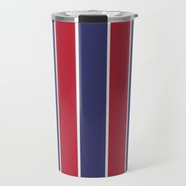 Large Red White and Blue USA Memorial Day Holiday Vertical Cabana Stripes Travel Mug