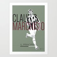 juventus Art Prints featuring Marchisio FC Juventus / Serie A Superstar Football Player by Filippo Maniscalco