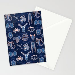 Geometric astrology zodiac signs // navy blue and coral Stationery Cards