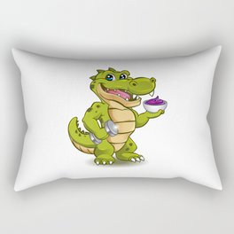 Funny Crocodile with dumbbell and bowl of ice cream Rectangular Pillow