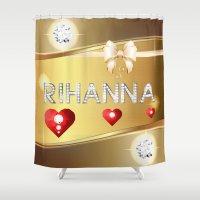 rihanna Shower Curtains featuring Rihanna 01 by Daftblue
