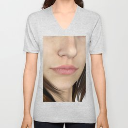 Natural Lips and Nose Close Up Unisex V-Neck