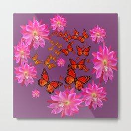 Puce Purple Pink Cacti Flowers Butterflies Art Metal Print