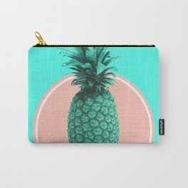 Pineapple Print - Tropical Decor - Botanical Print - Pineapple Wall Art - Blue - Minimal, Modern Carry-All Pouch