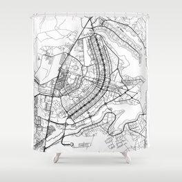 Brasilia Map White Shower Curtain