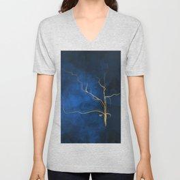 Kintsugi Electric Blue #blue #gold #kintsugi #japan #marble #watercolor #abstract Unisex V-Neck