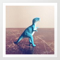 dinosaur Art Prints featuring Dinosaur  by They Come Along